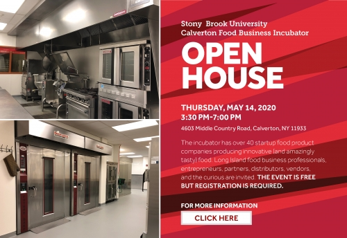 An invitation to an Open House at the Stony Brook Incubator Kitchen