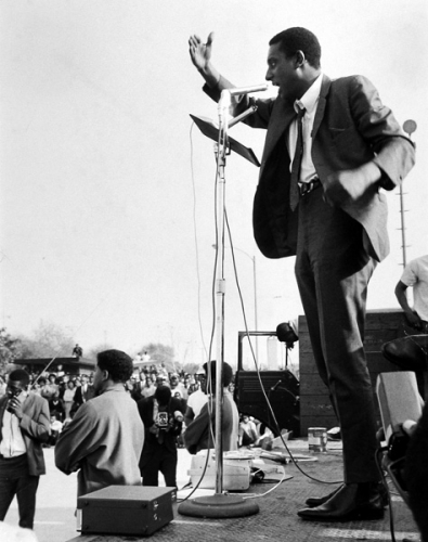 Gordon Parks, Stokely Carmichael Gives Speech, Watts, California, 1967, gelatin silver print.