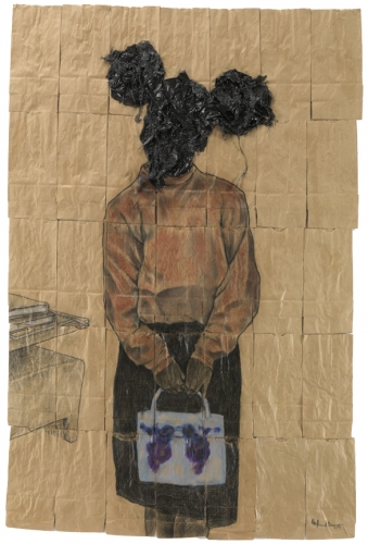 Barbara Jordan Beauty School, 2009, conte and graphite on paper bags