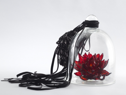 Petah Coyne Untitled #1396 (Catherine the Great), 2015 - 2020 Hand-blown glass flower, velvet ribbon, tassels, glass vitrine 11.75 x 9 x 9 inches (29.8 x 22.9 x 22.9 cm) Edition of 8 with 2 APs