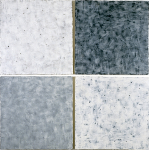 Michelle Stuart, Passage Bream Bay, 1999 Beeswax and pigment on canvas mounted on wood 4 units, 49 x 49 inches overall Parrish Art Museum, Water Mill, N.Y., Gift of the Artist in honor of Trudy C. Kramer 2007.9