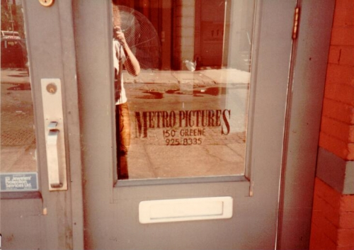 Storefront door of Metro Pictures original location, 150 Greene Street
