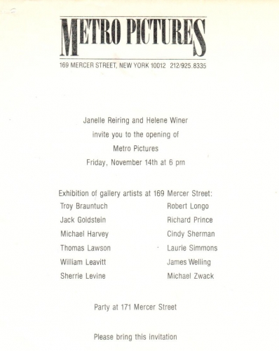 Flier from the opening exhibition at Metro Pictures