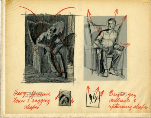 Mark Shaw drawing of two seated men corrected