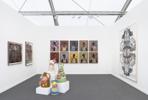 Installation view at Frieze New York, 2019, alongside Derek Fordjour and Kandis Williams.