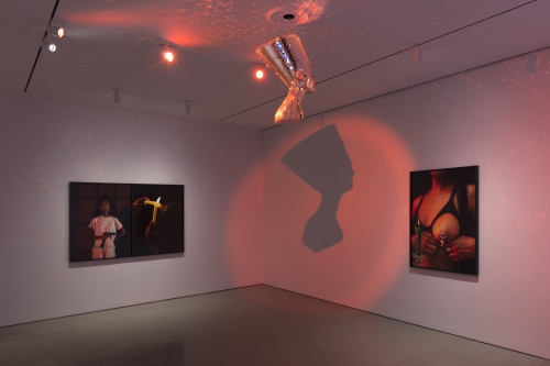 Installation view of Awol Erizku: Mystic Parallax at The FLAG Art Foundation, 2020. Photography by Steven Probert.