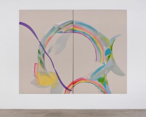 """Flying Through Rainbows,"" 2015. Acrylic and aqua-oil on canvas. 84 x 108 in."