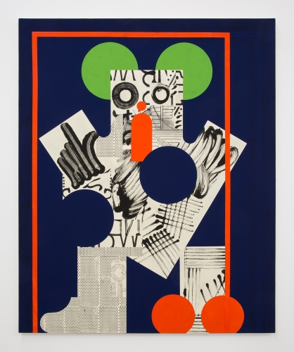 "David Korty, ""Figure on blue with green ears and orange border,"" 2019"