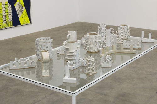 Ceramics table, installation view in Figure Constructions, 2015.
