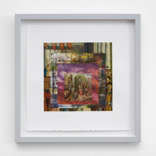 "William E. Jones, ""Homage to the Square 5 (Pinturicchio—Gerhard Richter—sunset—circus posters),"" 2019"
