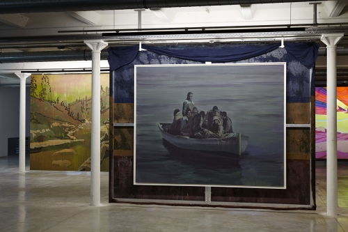Claire Tabouret + Smoke For Mirrors, Like Cash for Gold and Land for Sea, installation view at Friche la Belle de Mai, Marseille, 2017