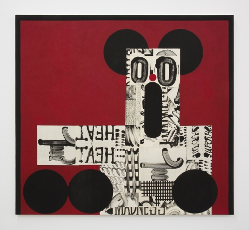 """David Korty, """"Figure pointing left on red with black ears,"""" 2019"""
