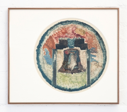 """Augustus Thompson, """"Untitled (Independent Brand),"""" 2016. Monotype on paper in oak frame. 24 1/4 x 28 inches."""