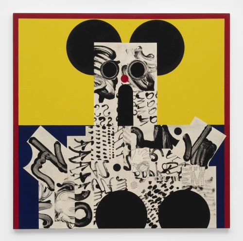 """David Korty, """"Figure on yellow and blue with black ears,"""" 2019"""