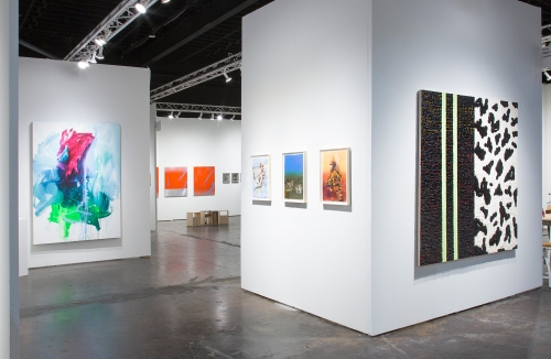 Andrea Marie Breiling, Claire Tabouret, and Vaughn Spann, installation view at NADA Miami, 2018.