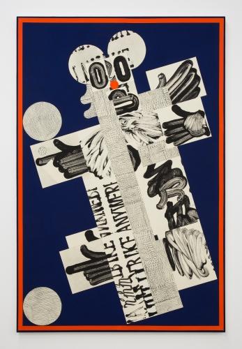 """David Korty, """"Figure tilted left on blue with orange border,"""" 2019"""