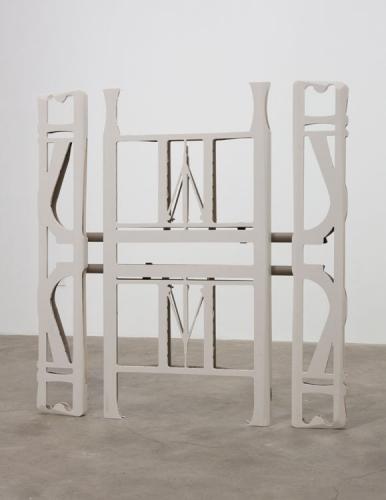 "Anne Libby, ""Winged Victory (Beige Sand)"", 2015, high-density polyethylene, powder coated steel"