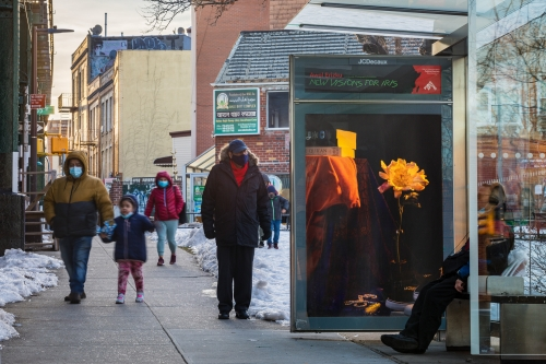 """""""CDCR (Interior Reflections),"""" 2020, Roosevelt Ave. between 63rd St. & 64th St., Queens, as a part of Awol Erizku: New Visions for Iris, an exhibition on 350 JCDecaux bus shelter displays across New York City and Chicago. Photo: Nicholas Knight, Courtesy of Public Art Fund, NY."""