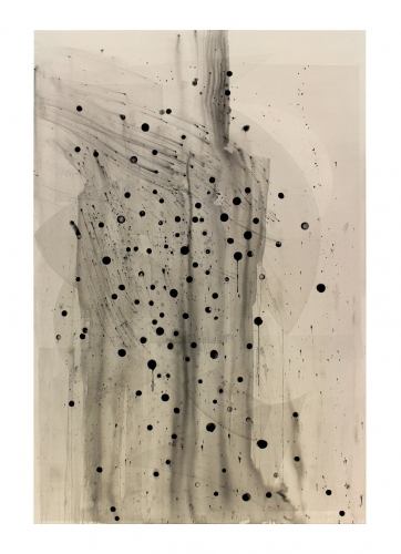 "Shawn Kuruneru, ""Untitled (Black dots with transparent shapes),"" 2017"