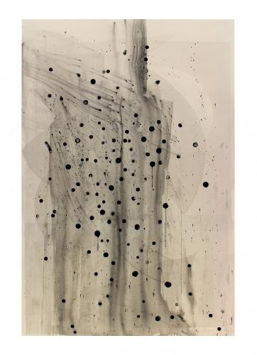 "Shawn Kuruneru, ""Untitled (Black dots with transparent shapes),"" 2017"