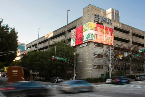 "Tomashi Jackson's digital billboard for ""Art for Action,""organized by Orange Barrel Media (OBM), Atlanta, GA, 2020."