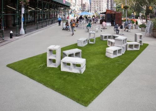 """Social Block,"" installation view at Flatiron Plaza, New York, NY, 2021"