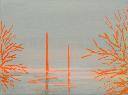 """Deep Bay (Pale sage with brilliant orange tree bursts),"" 2007"