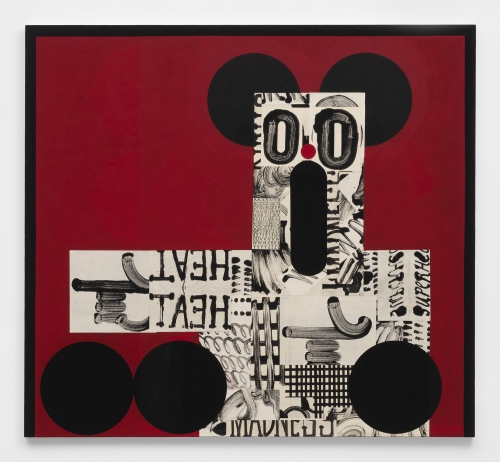 """""""Figure pointing left on red with black ears,"""" 2019"""