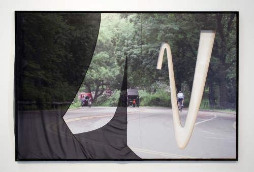 """Central Park (Three Riders, Motherwell)"", 2015. Inkjet on adhesive vinyl, silk chiffon, plexiglass, plywood, iron frame. 72 x 60 inches."