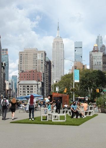 """Social Block,"" installation view at Flatiron Plaza, Armory Off-Site, New York, NY, 2021"