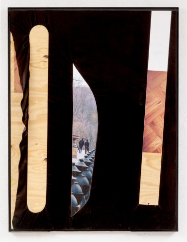 """""""Central Park (two walkers, three kinds of marks)"""", 2015. Inkjet on adhesive vinyl, plywood, silk chiffon. 48 x 36 inches."""