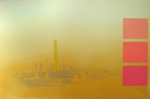 """""""Green Zone (gold and coral with stacks),"""" 2006"""