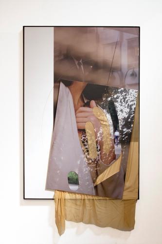 """Seagrams (Couple)"", 2015. Inkjet on adhesive vinyl, silk chiffon, plywood, iron frame. 72 x 48 inches."
