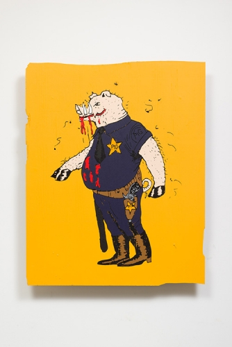 "Awol Erizku, ""THIS IS A PIG. HE TRIES TO CONTROL BLACK PEOPLE,"" 2017"