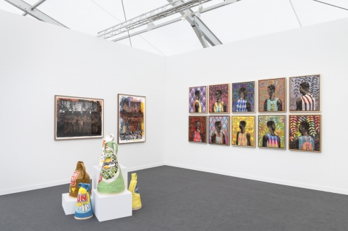 Installation view at Frieze New York, 2019, alongside Derek Fordjour and Grant Levy-Lucero.