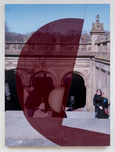 """Central Park (Arm arc)"", 2015. Inkjet on adhesive vinyl, silk chiffon, plywood, iron frame. 72 x 48 inches."