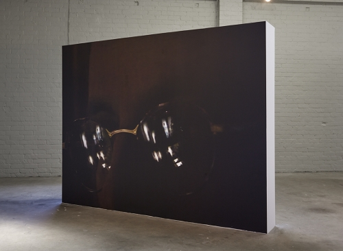 """""""Seagrams (Glasses)"""", 2015. Inkjet on adhesive vinyl, freestanding wall. 96 x 126 x 14 inches."""