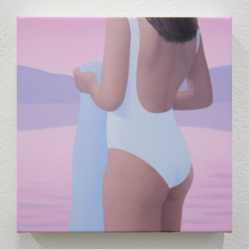 """Ridley Howard, """"Swimsuit and Towel #4, Pink Lake,"""" 2019"""