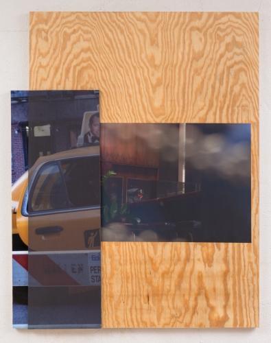 """Seagrams (Rosé),"" 2015. Inkjet print on adhesive vinyl, BC plywood, silk chiffon, sintra. 60 x 54 in."