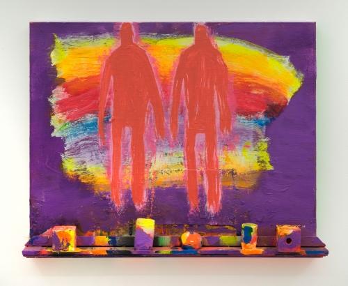 "Katherine Bradford, ""Shelf Men with Rainbow,"" 2018"