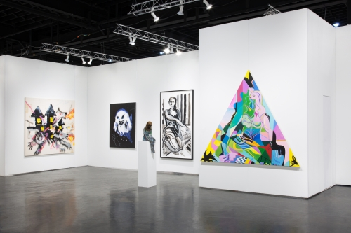 Installation view at NADA Miami, Ice Palace Studios, 2019, alongside Samara Golden, Wanda Koop, and Robert Nava.