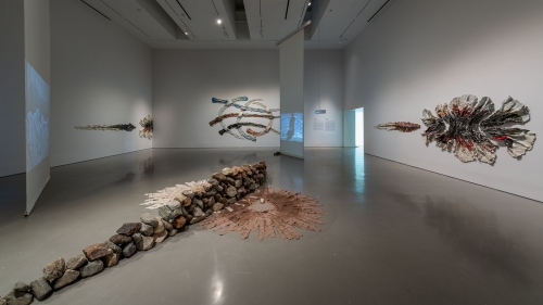 Brie Ruais: Movement at the Edge of the Land, installation view, Moody Center for the Arts, Houston, TX, 2021. Photo: Nash Baker
