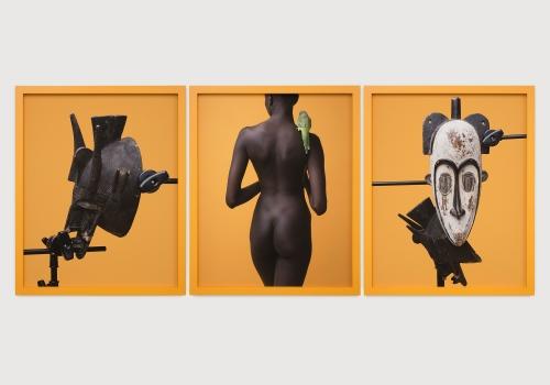 "Awol Erizku, ""Study of the body and two masks,"" 2018"