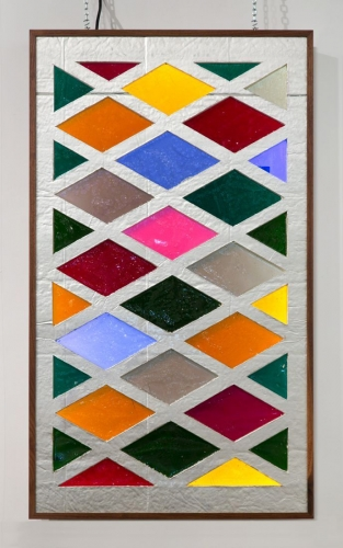 "Samara Golden, ""Missing Pieces from A Fall of Corners #3, stained glass,"" 2015-2016"