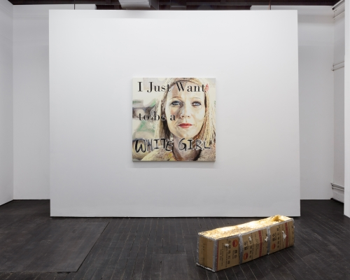 """""""I Just Want to Be a White Girl,"""" installation view in Skip Tracer at M. LeBlanc Gallery, 2018."""