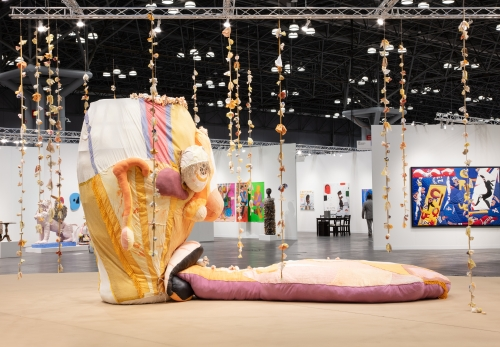 """Tau Lewis, """"Opus (The Ovule),"""" installation view at The Armory Show, Platform Sector, New York, NY, 2021."""
