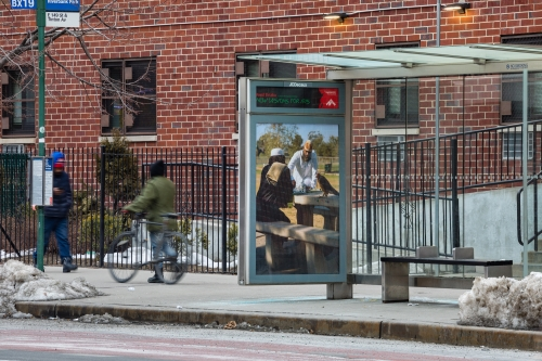 """""""Park Match,"""" 2020, 149th St. between Tinton Ave. and Wales Ave., The Bronx, as a part of Awol Erizku: New Visions for Iris, an exhibition on 350 JCDecaux bus shelter displays across New York City and Chicago. Photo: Nicholas Knight, Courtesy of Public Art Fund, NY."""