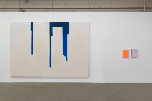 """In Absentia (Deep Blue-White),"" installation view in In Absentia at Night Gallery, 2017."