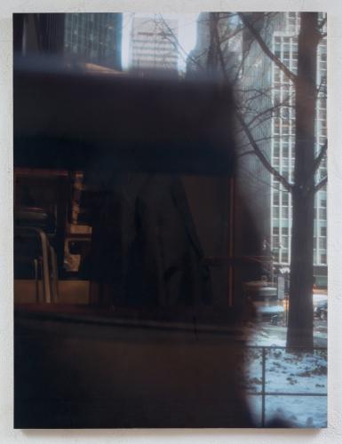 """Seagrams (Camera)"", 2015. Inkjet on adhesive vinyl, plywood, iron and Muntz metal frame. 72 x 48 inches."