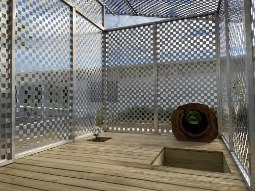 """""""Zen Jail,"""" 2016, installation view at the Sarasota Art Museum, 2020."""